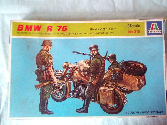 Moto De Plastico Militar Bmw R75, Con Sidecar, Para Armar