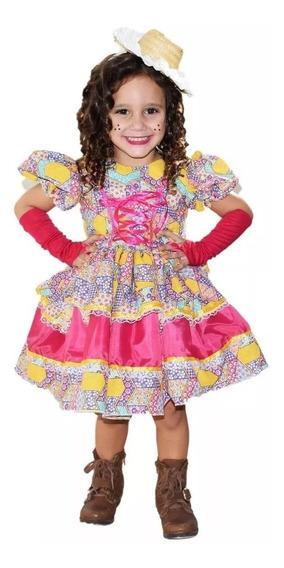 Vestido Festa Junina Caipira Luxo Infantil + Luva+ Fita