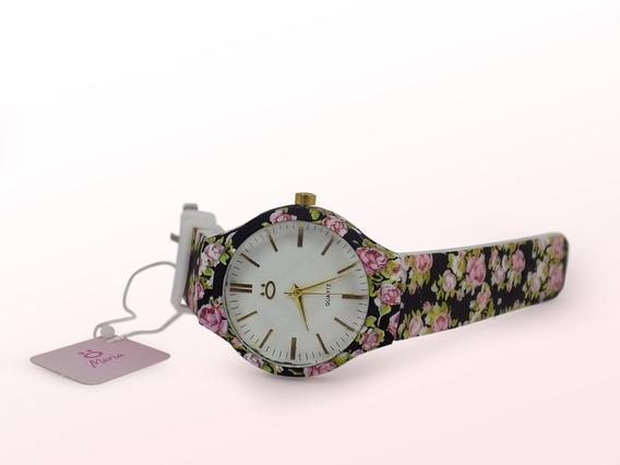 Relógio Original Orizom Florido Azul Preto Rosa