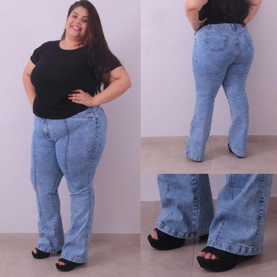 Calça Jeans Plus Size Feminina Cintura Alta Flare 46 Ao 54