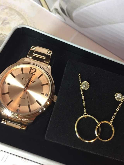 Relógio Feminino Kit Condor Rosê Co2035kvp/4j Semijoia
