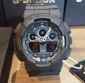 Relógio G-shock Ga100 Automatico Preto Fosco E Dourado
