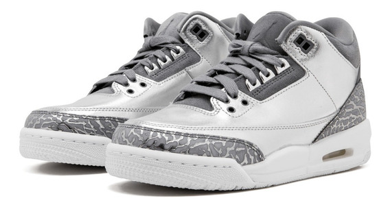 Air Jordan Retro 3 Premium Heiress Metallic Silver (gs)