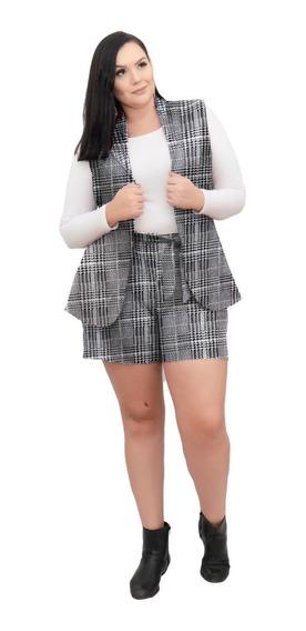 Conjunto Maxi Colete E Short Cintura Alta Xadrez Plus Size