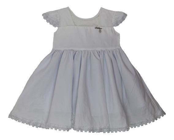 Vestido De Batizado Para Bebê Menina Detalhe Em Tullê