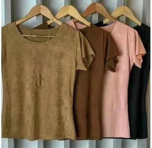 Blusa Camiseta Feminino Suede Camurça Blusinha Veludinho