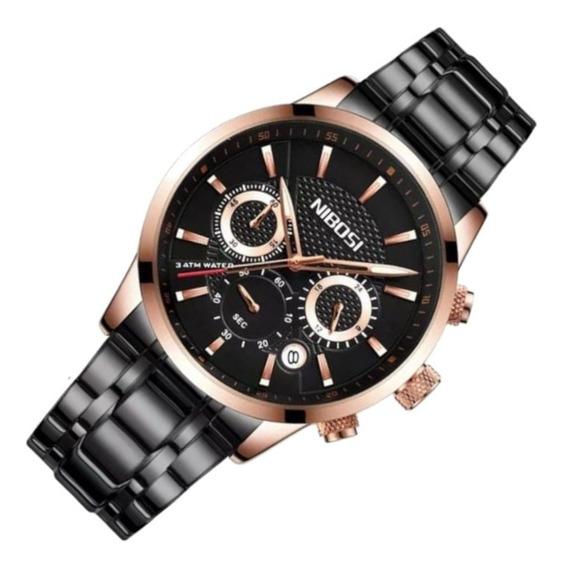 Relógio Masculino Nibosi 2313 Aço Rosa Casual