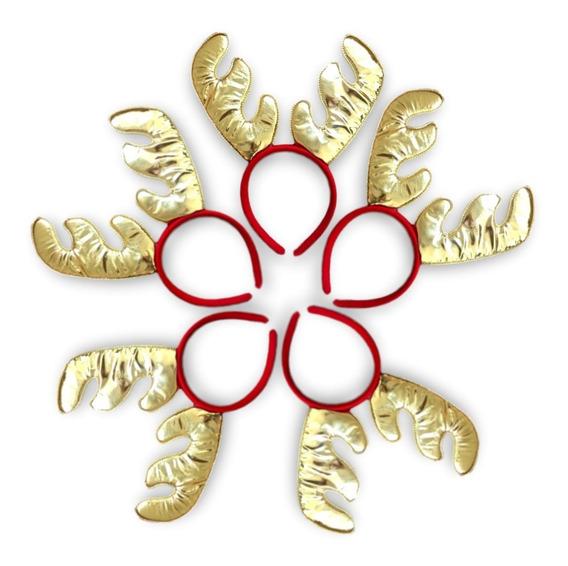 12 Diadema Reno Rodolfo Cuernos Dorado Navidad Pastorela Pos