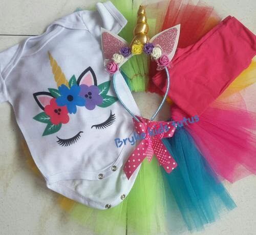 Conjunto Vestido Niña Tutu Unicornio Colores