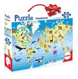Puzzle 36p Planisferio Niños Didáctico Rompecabezas Antex