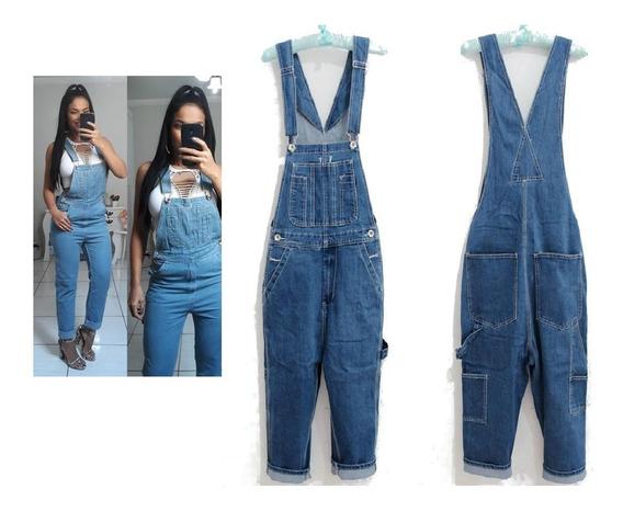 Jardineira Feminina De Luxo Jeans Denin Americana Usa
