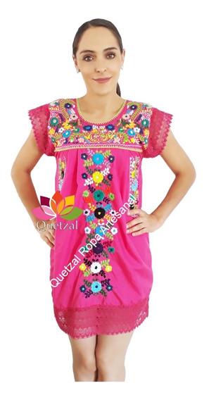 Vestido De Dama Mexicano Artesanal Bordado Encaje Puebla