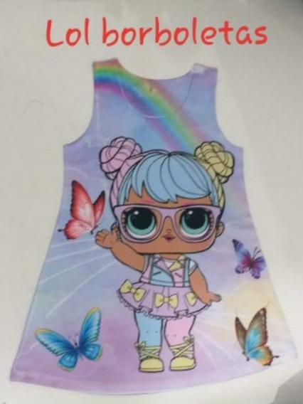 Vestido Infantil Modelo Trapézio Boneca Lol Borboletas