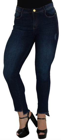 Calça Jeans Feminina Barra Menor Cintura Alta Skinny Lycra