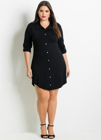 Vestido Chemise Plus Size Com Botão Tamanhos Grandes