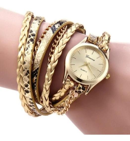 Relógio Feminino Dourado Pulseira Pulso Linda Promoção