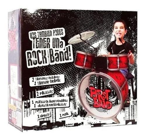 Bateria Musical Infantil Niños Bombo +tambor + Banco Lelab
