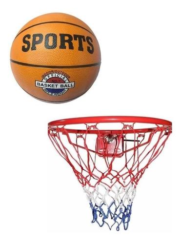 Aro De Basquet Nº7 Con Resorte + Pelota Basket Nº7 Oficial