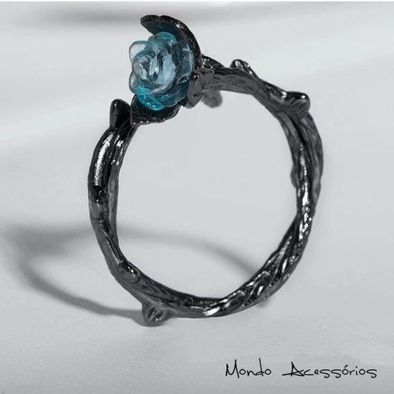 Combo Anel P/ Casal Criativo Dark Rose E Espinhos Prata 925