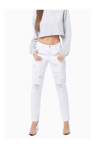 Jeans Rotos Forever 21 Color Blanco