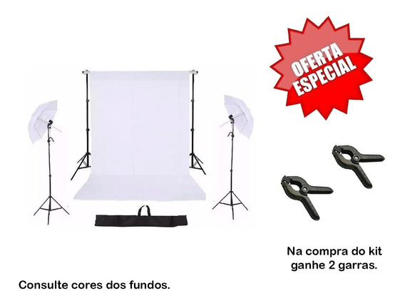 Kit Suporte Fundo Rcf 2mx2m + Kit Iluminação + Tecido +bag