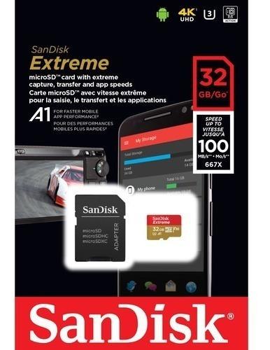 Cartão Memória Sandisk 32gb Extreme Uhs-i Micro Sd Hc 100mbs