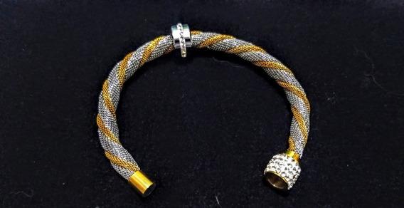 Semi Joia Pulseira/bracelete De Aço Cirúrgico Com Zircônia
