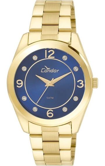 Relógio Condor Feminino Dourado Fundo Azul Co2035klw/4a - Nf
