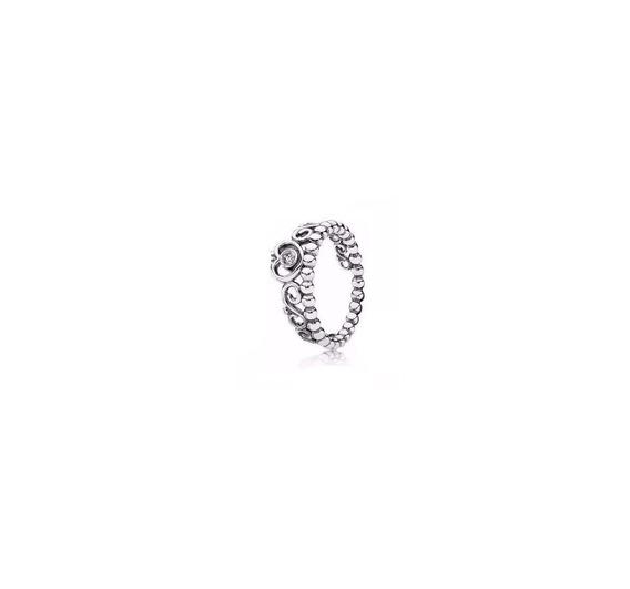 Anel Em Prata 925 Coroa Estilo Pandora