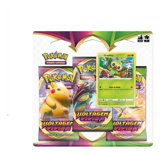 Pokémon Tcg Triple Pack Swsh4 Voltagem Vívida Grookey Copag