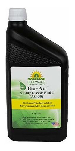 Imagen 1 de 2 de Renewable Lubricants Bio-air Compressor Ac-30 Fluid Oil, 1 Q