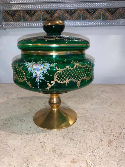 Antigua Bombonera En Cristal Soplado De Murano