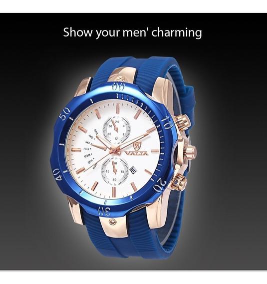 Relógio Valia Original Analógico Calendário Luxo Promoção