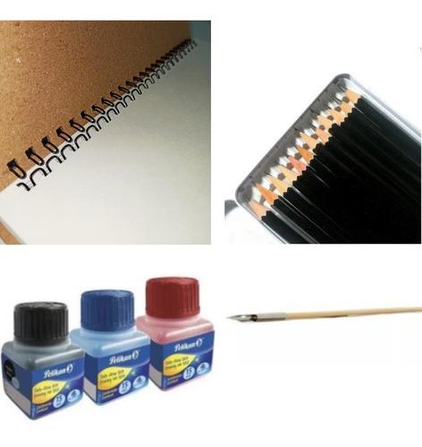 Kit Bitácora + Set Lápices + Tinta China + Plumillas