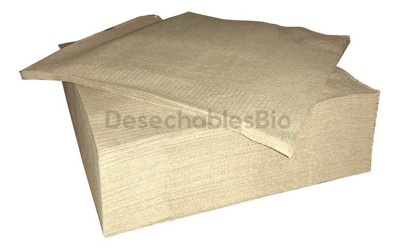 500 Servilletas Biodegradable Papel Kraft Reciclado 23x23 Cm