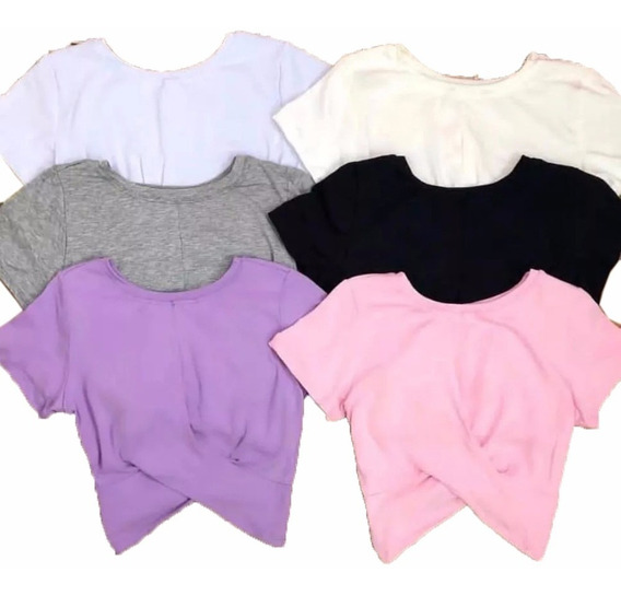 Blusa Feminina Cropped Top Cruzado Manguinha Moda Blogueira