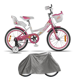 Bicicleta Aurora Princesa Rodado 16 Rosa + Funda Impermeable