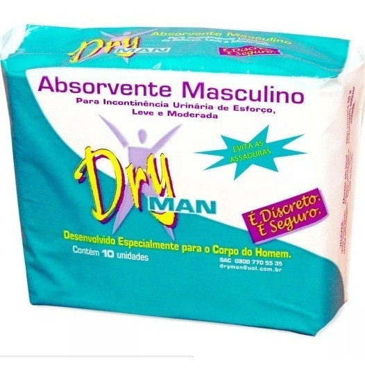 10 Pct Absorvente Masculino Dry Man C/10un Cada