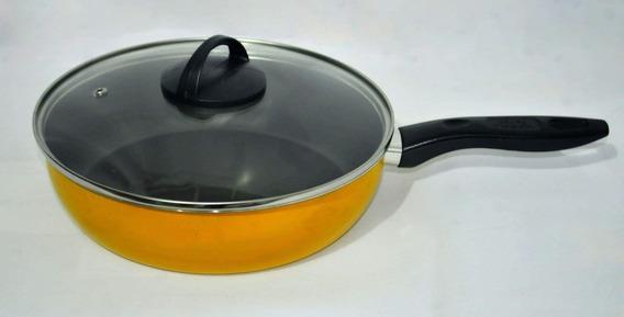 Frigideira Nº24 Com Teflon Antiaderente Amarela T. Vidro