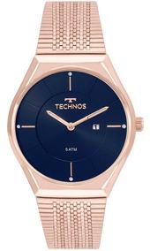 Relógio Technos Feminino Fashion Gl15aq/4a Rose Gold Azul