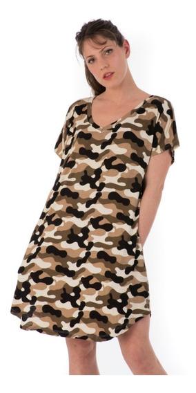 Vestido Amplio Corto Camuflado Con Bolsillos Mujer