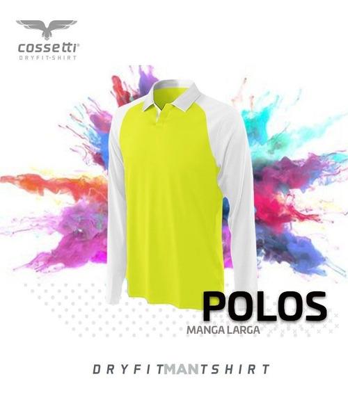 Playera Tipo Polo Cossetti Manga Larga Dryfit Ranglan Xl 2xl