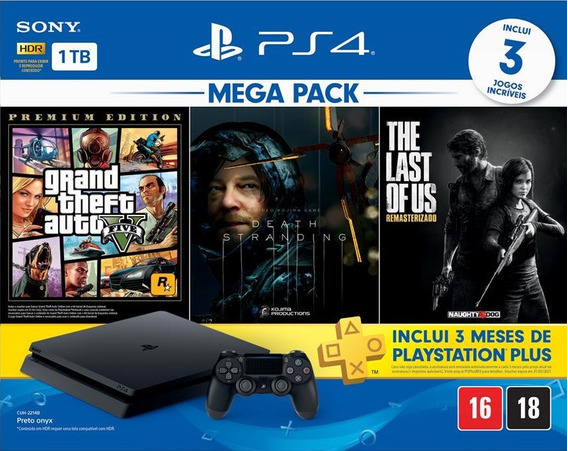 Ps4 Slim 1tb Mega Pack Gta 5 Death Stranding Last Of Us - Nf