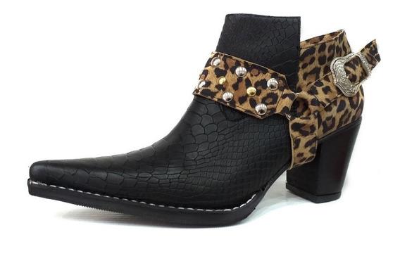 Zapato Mujer Bota Texana Cuero Artesanal C/hebilla