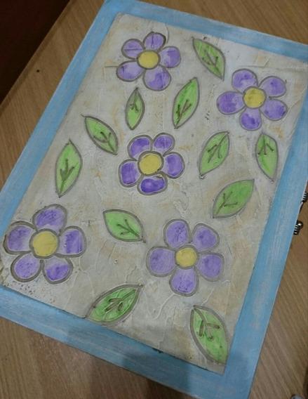 Caixa De Jóias Com Pintura De Flores Artesanato Feito A Mão