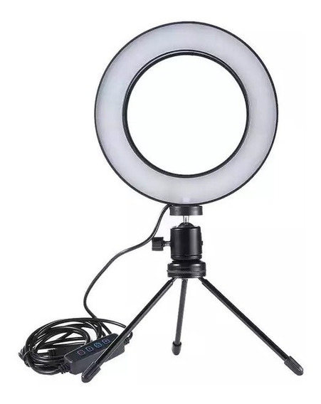 Iluminador De Led Com Tripé Ring Light Usb 16cm 3500k 5500k