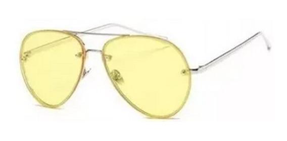 Lentes Gafas Unisex Retro Amarillas De Sol Aviador Hipster