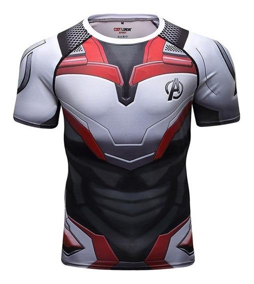 Camisa Compresion Marvel Avengers Endgame Elite Quantum Uniform Playera Hombre Manga Corta Licra Crossfit Gym Rashguard