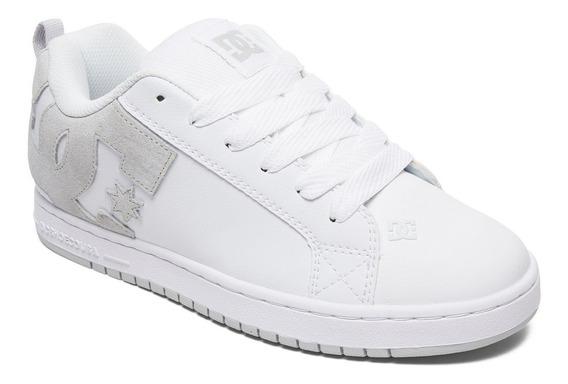 Tenis Para Caballero Dc Shoes Court Graffik Blanco Gris