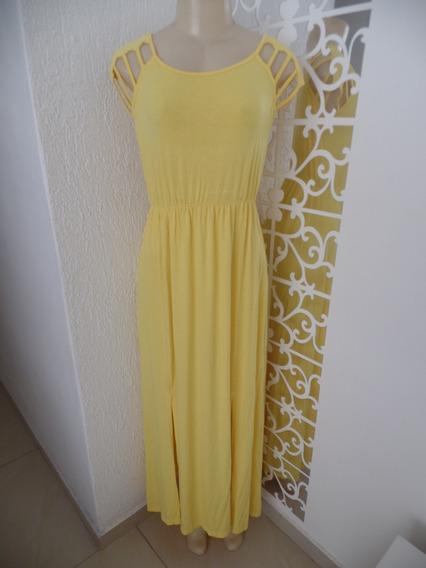 Vestido Longo Amarelo Fendas Chic